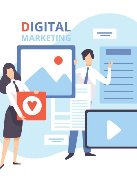 Digital Marketing, Creative Team Working on Content and Management Strategy, Business Analysis Flat Vector Illustration on White Background.